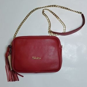 Valentina red leather crossbody chain strap bag